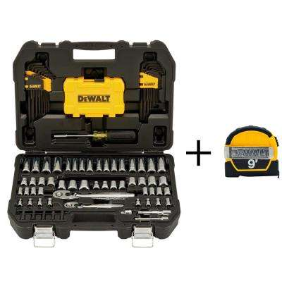 1/4 in. x 3/8 in. Drive Polished Chrome Mechanics Tool Set (108-Piece) with 9 ft. x 1/2 in. Tape Measure