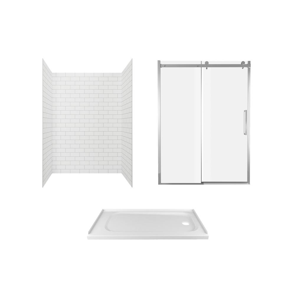 American Standard Passage 60 in. x 72 in. 3-Piece Glue-Up Alcove Shower Wall, Door and Base Kit with Right Hand Drain in White Subway Tile