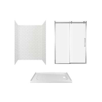 Passage 60 in. x 72 in. 3-Piece Glue-Up Alcove Shower Wall, Door and Base Kit with Right Hand Drain in White Subway Tile