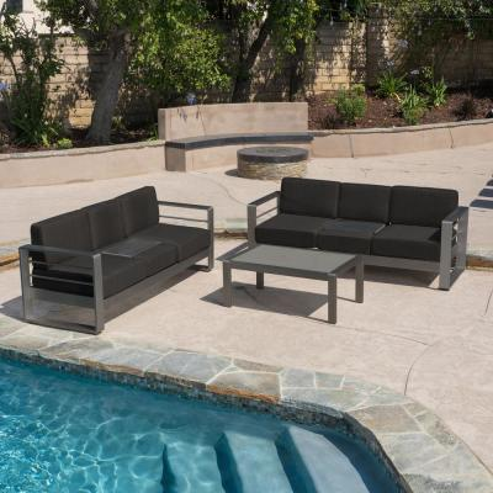 Cape Coral Grey 3-Piece Aluminum Patio Conversation Set with Dark Grey Cushions