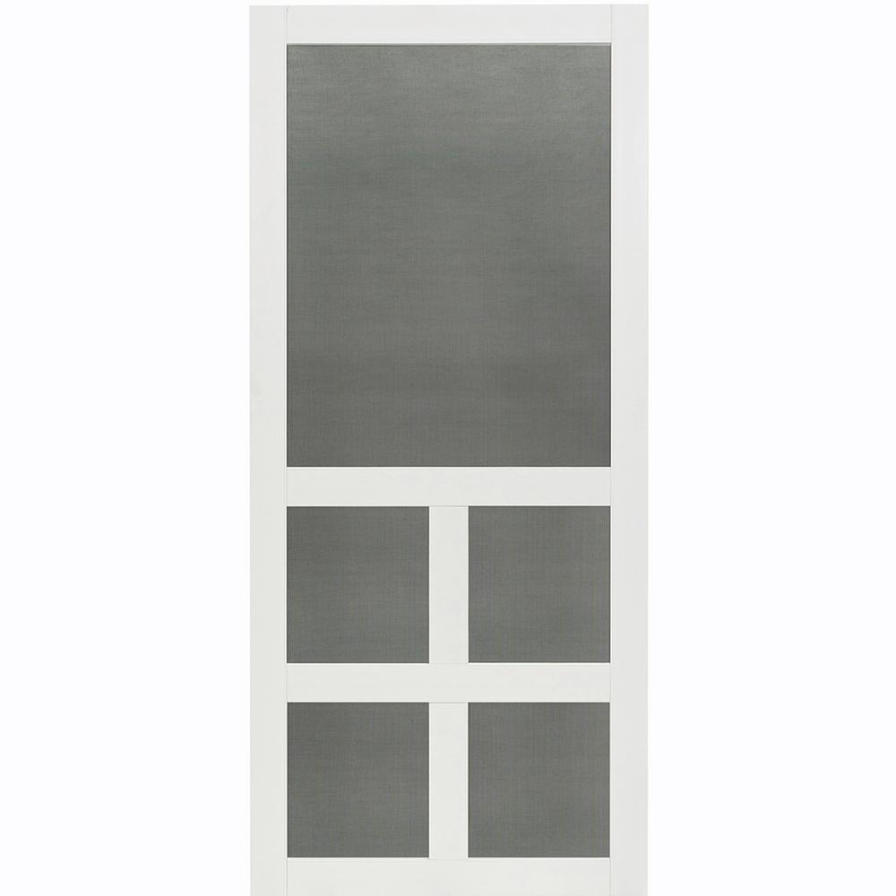 36 in. x 80 in. Victoria White Vinyl Screen Door