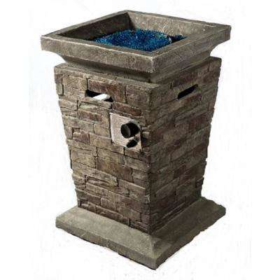 20 in. W x 29 in. H  Dark MGO Culture Stone Propane Side Fire Pit Table