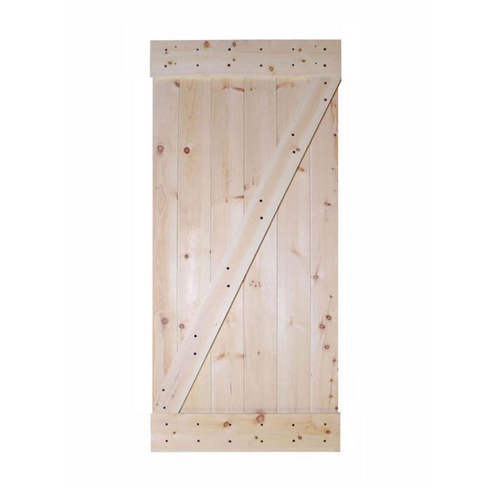 CALHOME 30 in  x 84 in  Unfinished Z-Bar 100% Knotty Pine Interior DIY Barn  Door Slab