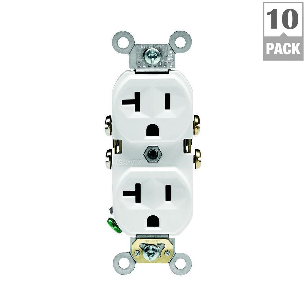 Leviton 20 Amp Commercial Grade Duplex Outlet, White (10-Pack)-M02 ...