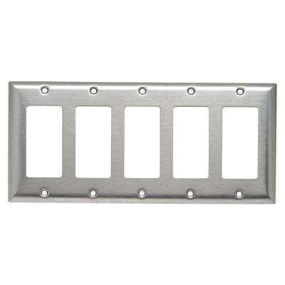 302 Series 5-Gang Decorator Wall Plate, Stainless Steel