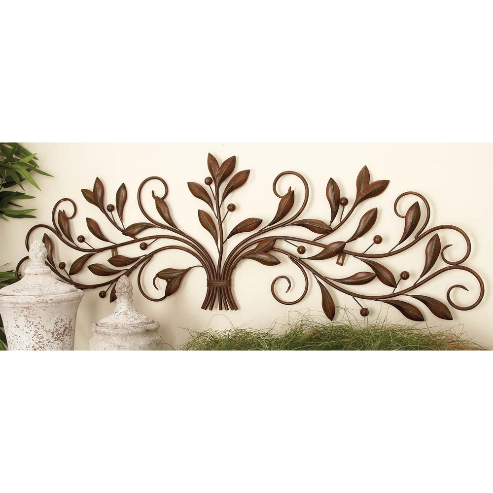 47 in. New Traditional Brown Iron Leaves with Berries Wall Decor