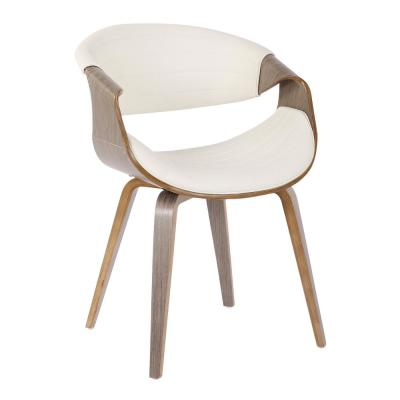Symphony Mid-Century White Faux Leather and Light Grey Dining/Accent Chair