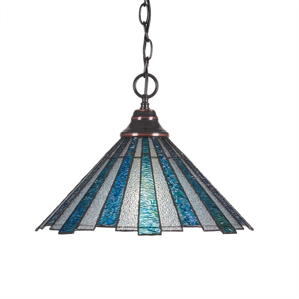 Filament Design 1-Light Black Copper Pendant with 16 in. Sea Ice Tiff Glass