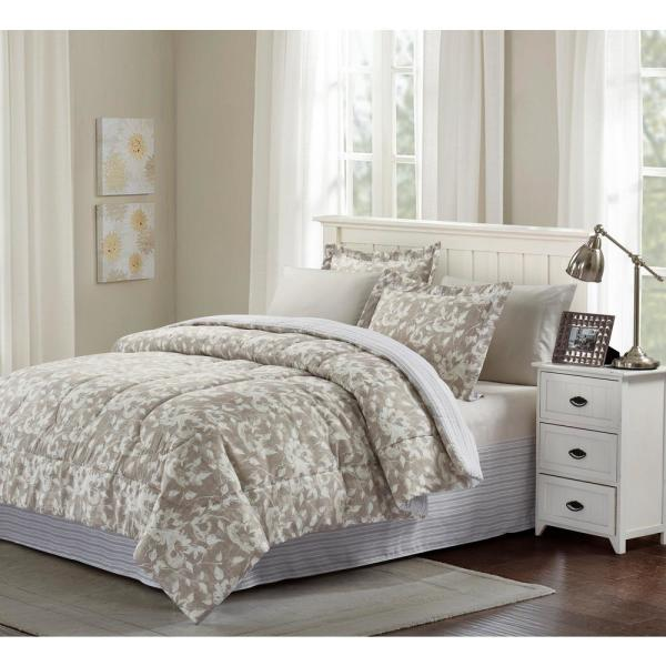 f9e3d183d7ae Brown & Grey Camille Taupe Queen 8-Piece Bed-In-Bag Set BG18CMGR3 ...