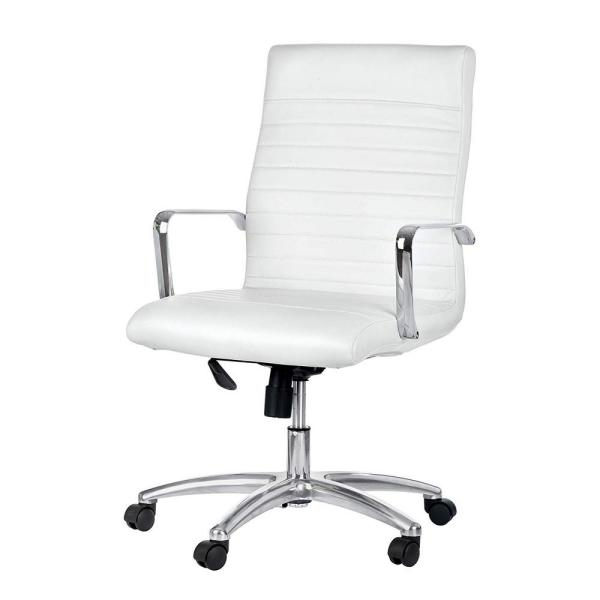 AdirOffice Faux White Leather Executive Office Chair with Adjustable Height