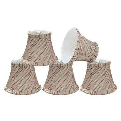 5 in. x 4 in. Off White and Red Stripe Bell Lamp Shade (5-Pack)