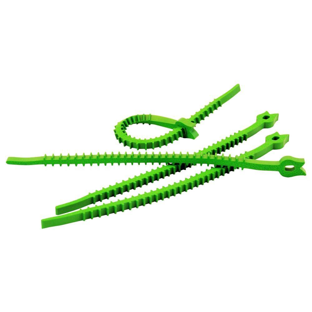 Q Knot Outdoor Reusable Ties - Green (Set of 20)