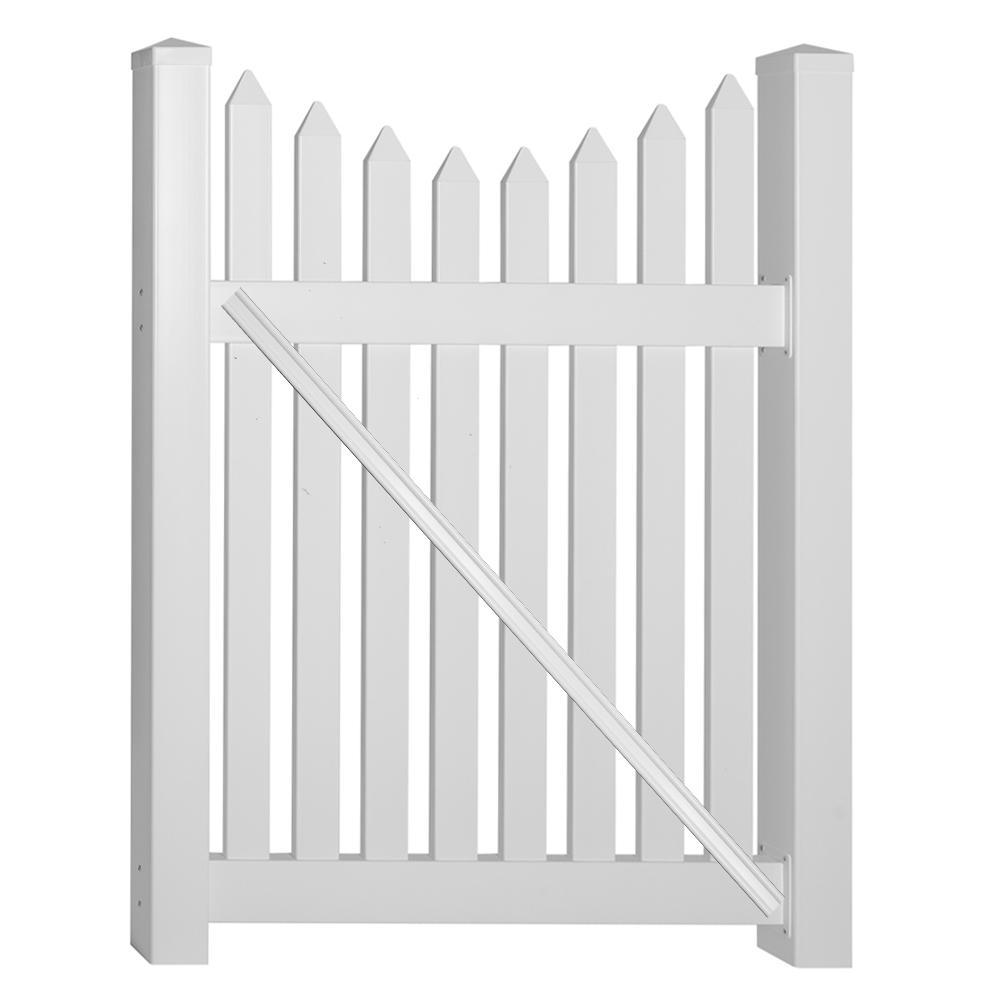 Richmond 4 ft. W x 4 ft. H White Vinyl Picket Fence Gate