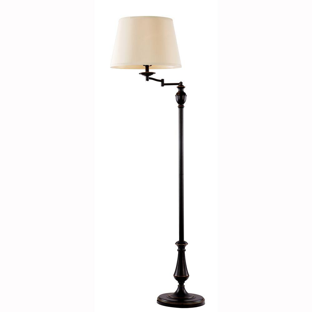 59 in. Oil-Rubbed Bronze Swing-Arm Floor Lamp with Cream Fabric Drum