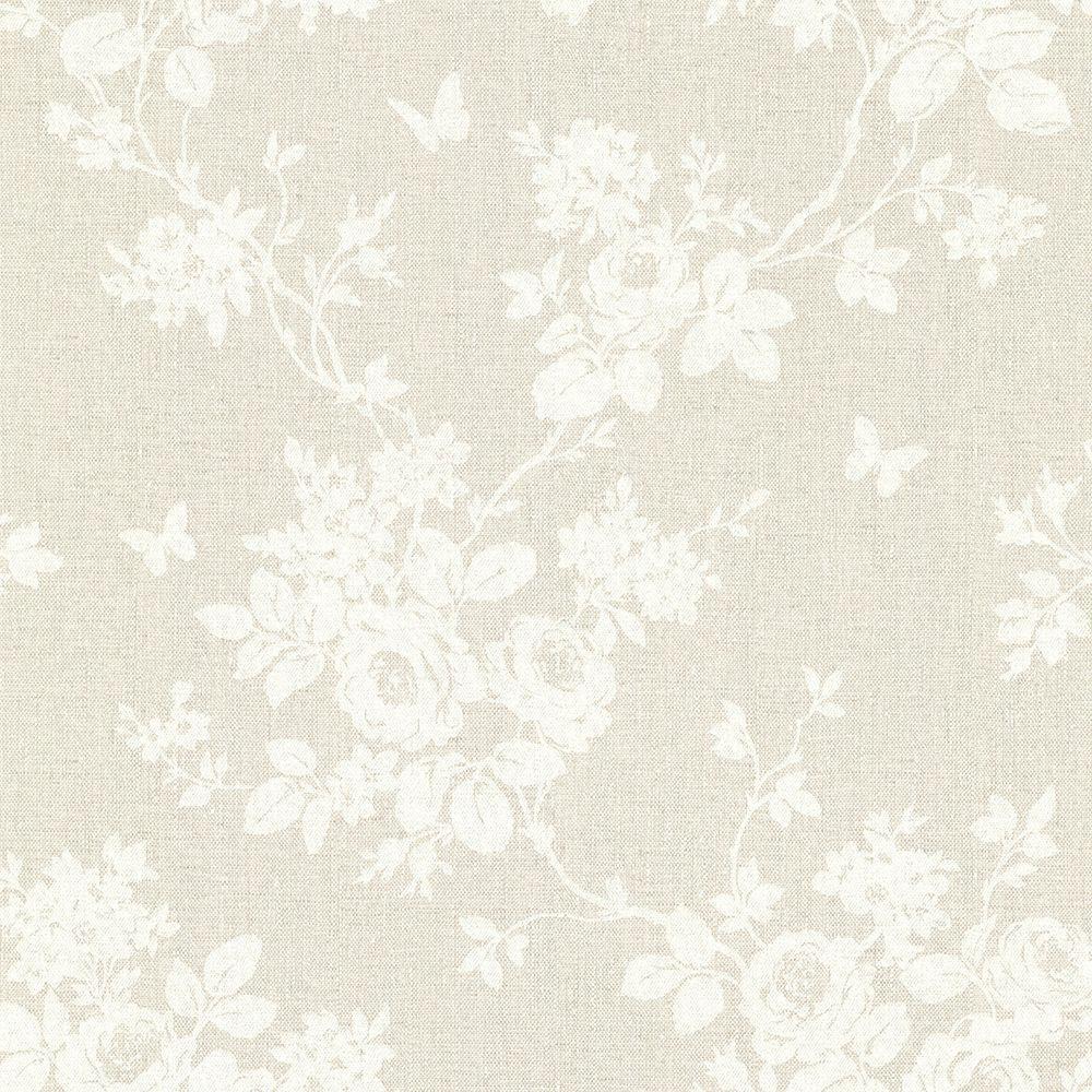 Gia Khaki Floral Wallpaper