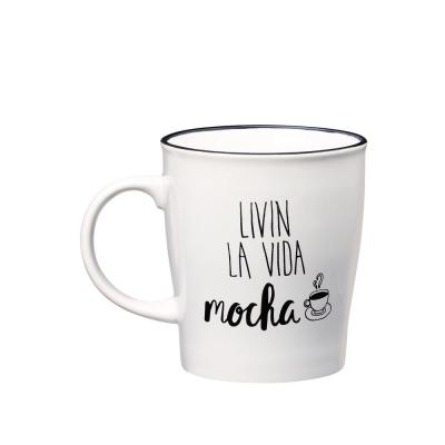 Livin La Vida Mocha 25 oz. White-Black Ceramic Coffee Mug