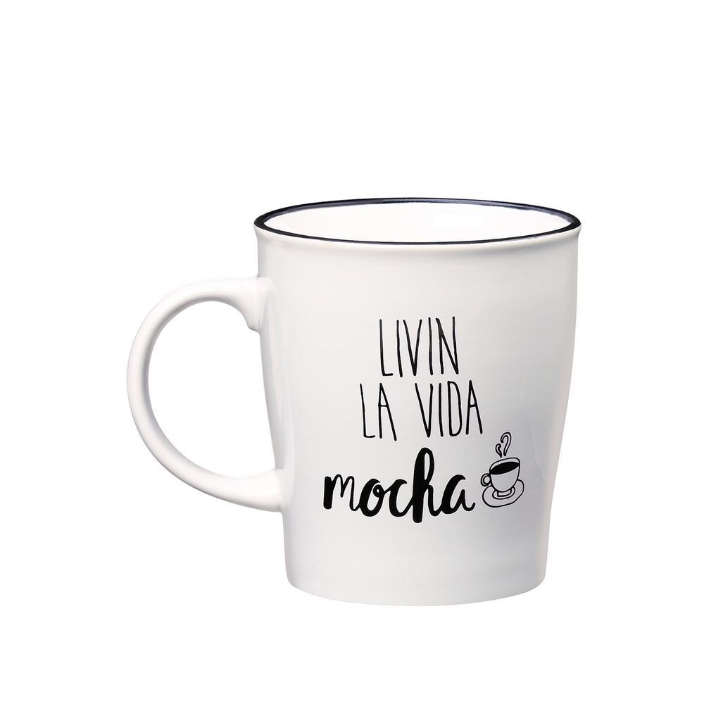Livin La Vida Mocha 25 oz. White-Black Ceramic Coffee Mug
