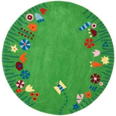 Kids Green/Multi 8 ft. x 8 ft. Round Area Rug