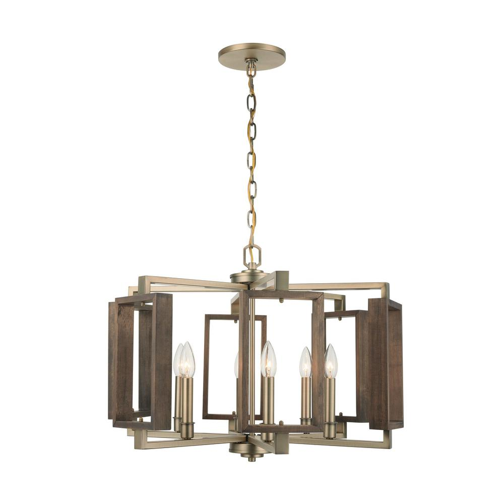 Home Decorators Collection Zurich 6-Light Soft Gold Chandelier with Wood Accents