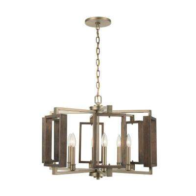 Zurich 6-Light Soft Gold Chandelier with Wood Accents