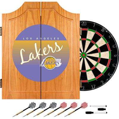 20.5 in. Los Angeles Lakers Hardwood Classics NBA Wood Dart Cabinet Set
