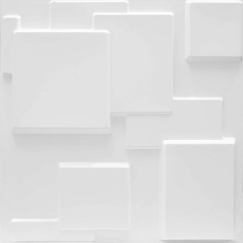 LuxorWare 19.7 in. x 1 in. x 19.7 in. White PVC Fiber 3D Wall Panels (12-Pack)