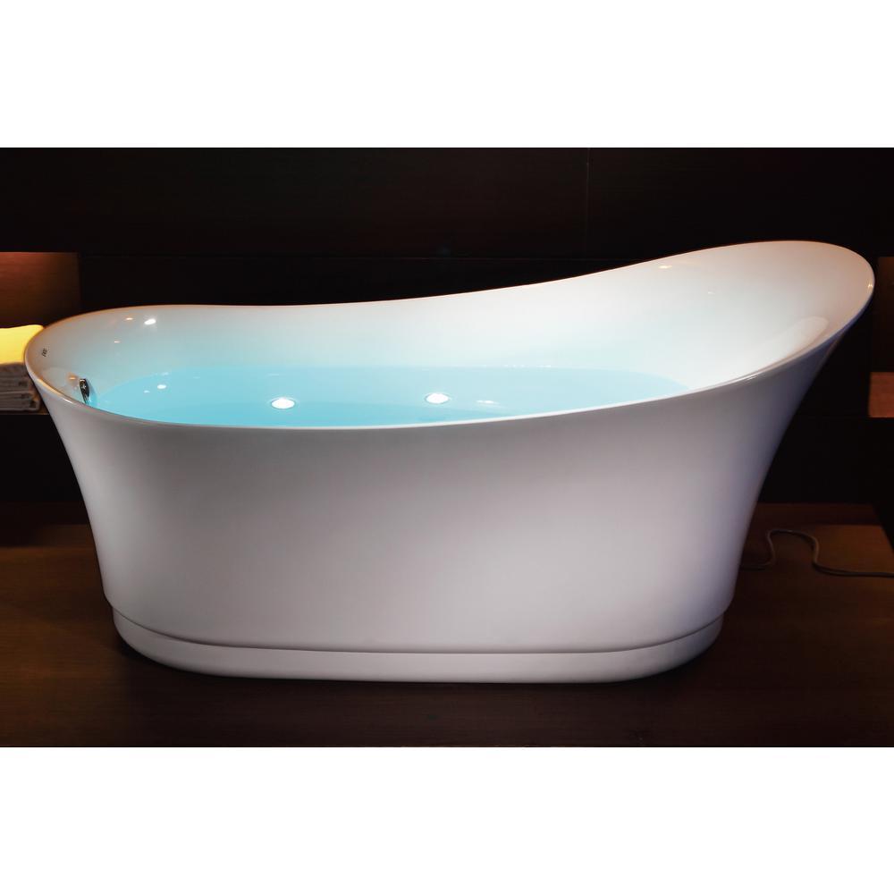 EAGO 69 in. Acrylic Flatbottom Air Bath Bathtub in White