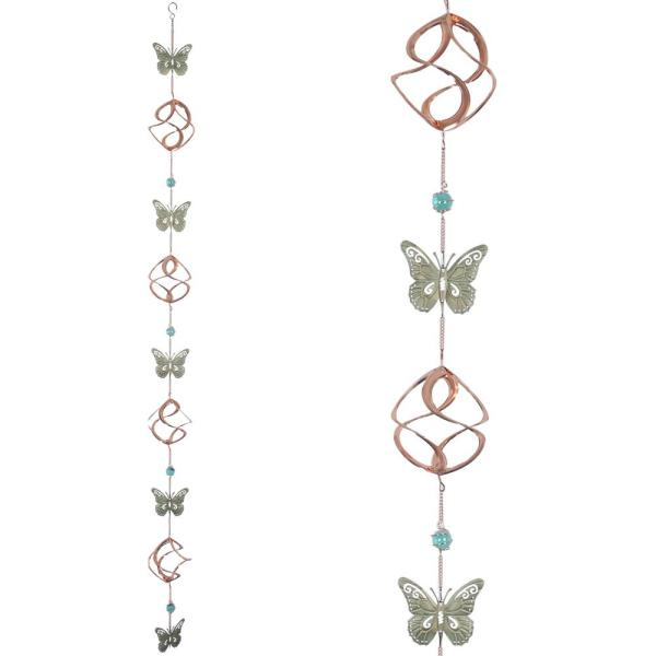 Rain Chain Cosmix Copper Patina with 5 Butterflies