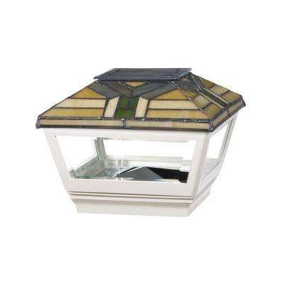 4 in. x 4 in. Vinyl Solar Light Forest Top Pyramid Post Cap with White Base