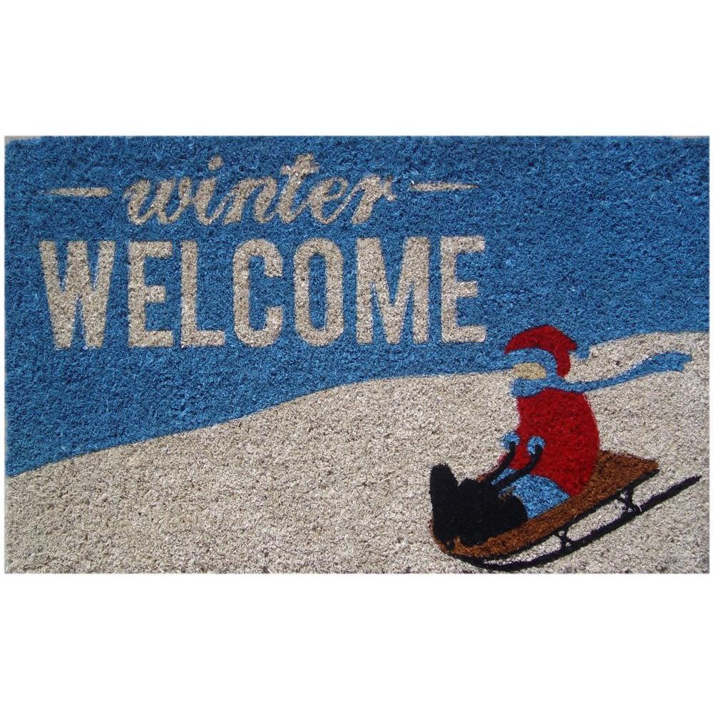 Winter Welcome 18 in. x 30 in. Hand Woven Coconut Fiber Door Mat