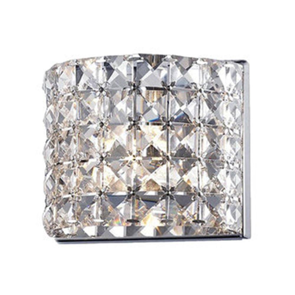 Lawrence 1-Light Chrome Steel Crystal Bath Light with Clear Crystal Shades, Bulbs Included