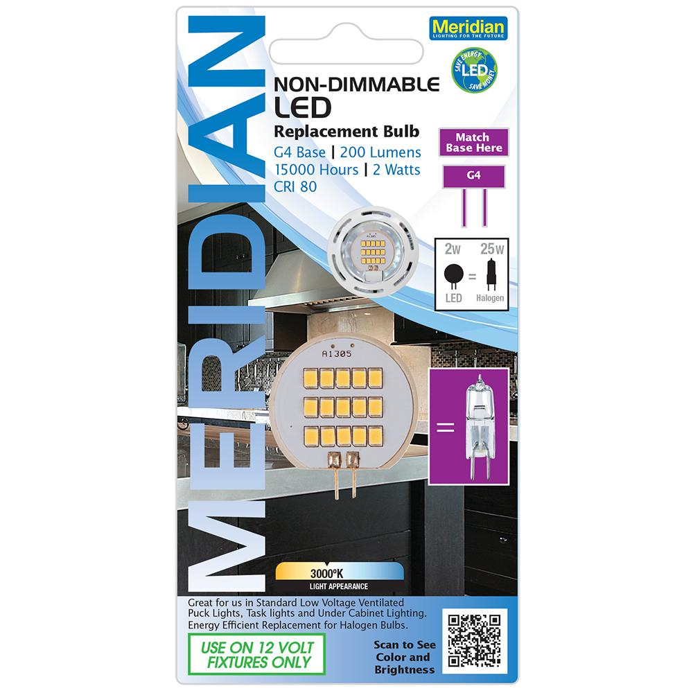 meridian 25 watt equivalent bright white t4 g4 base led light bulb