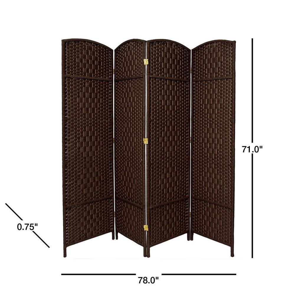 Oriental Furniture 6 Ft Dark Mocha 4 Panel Room Divider Fbopdmnd4pdmoc The Home Depot