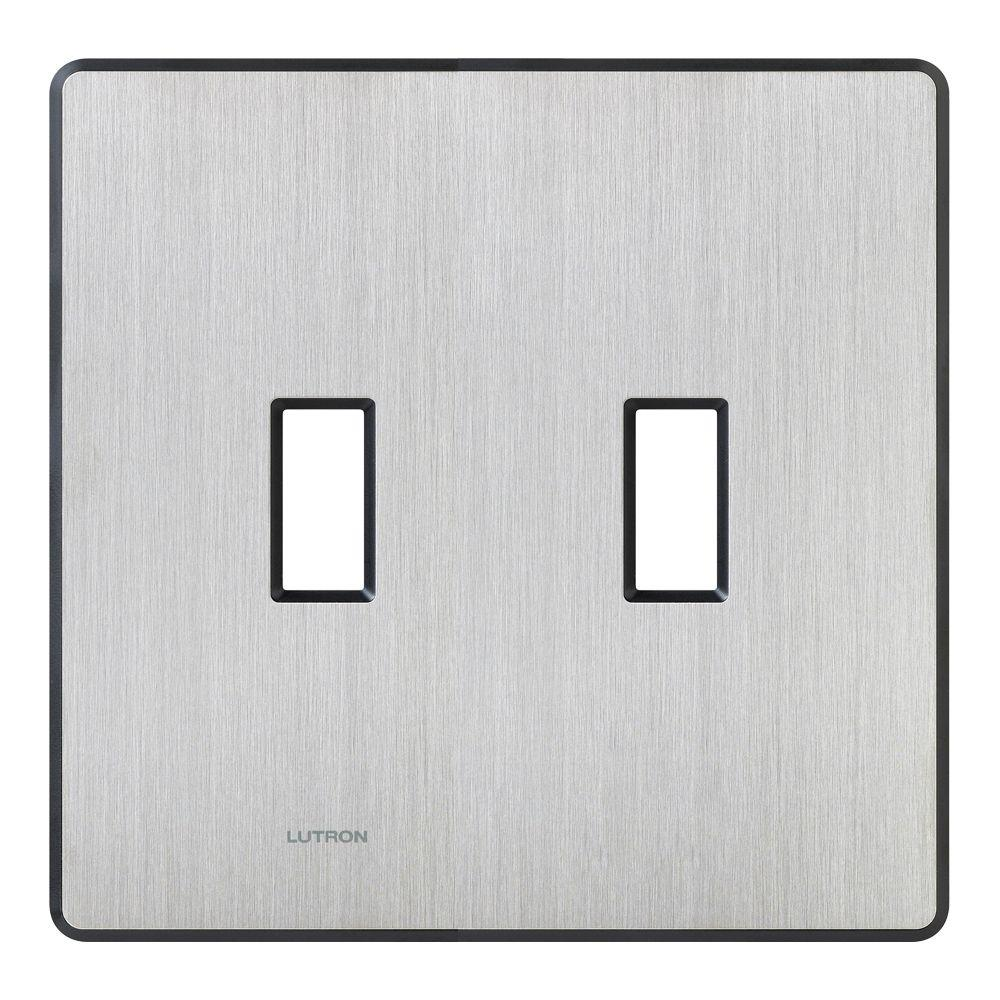 Stainless Steel Light Switch Plates Lutron Fassada 2 Gang Wallplate For Togglestyle Dimmers And