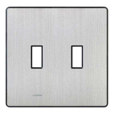 Fassada 2 Gang Wallplate for Toggle-Style Dimmers and Switches, Stainless Steel