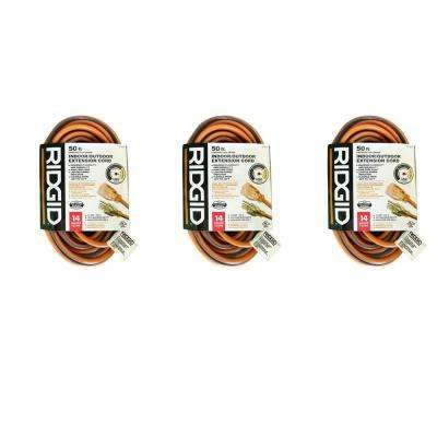 50 ft. 14/3 Extension Cord in Orange and Gray (3-Pack)