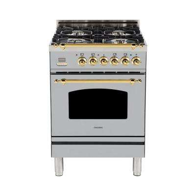 24 in. 2.4 cu. ft. Single Oven Italian Gas Range with True Convection, 4 Burners, Brass Trim in Stainless Steel