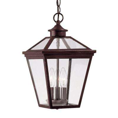 3-Light Outdoor Hanging English Bronze Lantern with Clear Glass