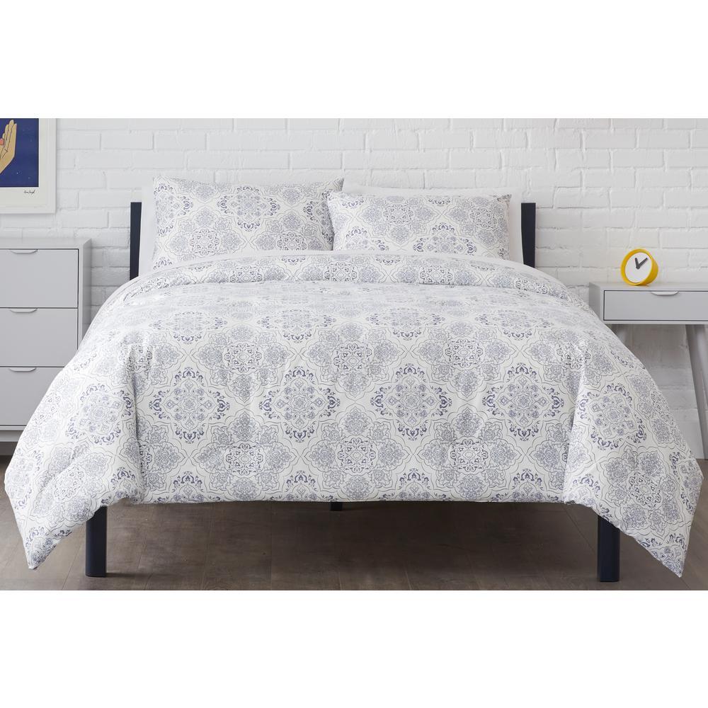 Delancey 3-Piece Steel Blue Medallion Full/Queen Comforter Set