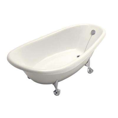 Birthday Bath 6 ft. Porcelain-Enameled Cast Iron Claw Foot Reversible Drain Bathtub in Biscuit