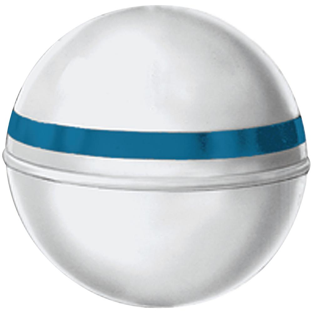 Jim-Buoy 12 in  Dia  Mooring Buoy with 2 in  Tube and 22 lb  Buoyancy in  White with Blue Reflective Tape