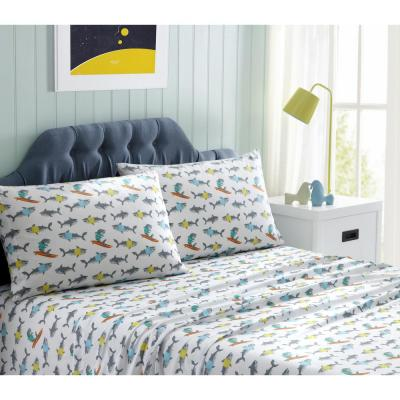 Kids Grey Printed Microfiber Twin Sheet Set