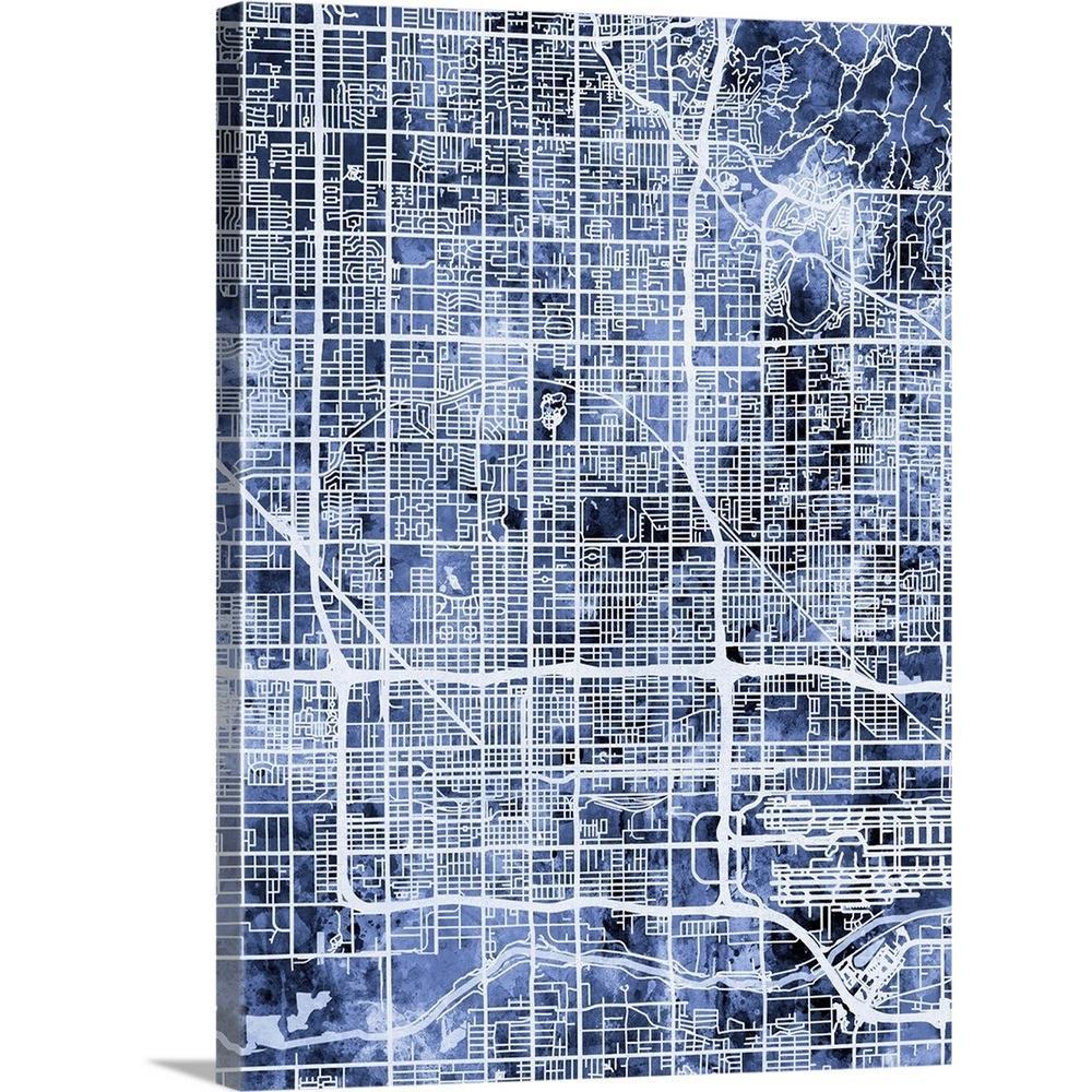 """Phoenix Arizona City Map"" by Michael Tompsett Canvas Wall Art"