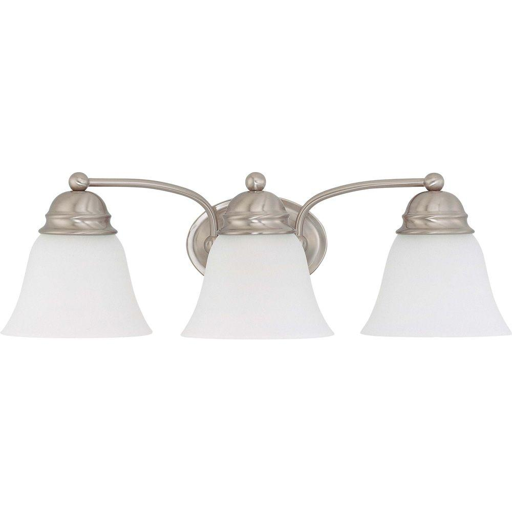 Glomar Light Brushed Nickel Vanity Light With Frosted White Glass - Brushed nickel bathroom ceiling light fixtures