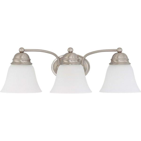 3-Light Brushed Nickel Vanity Light with Frosted White Glass Shade