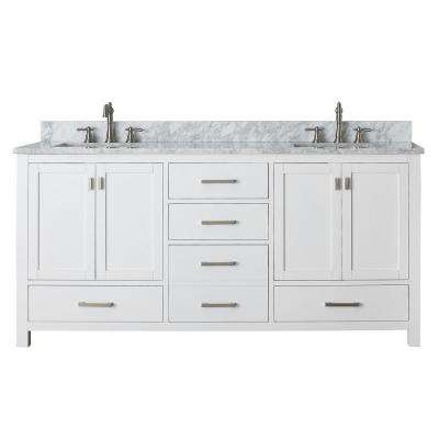 Modero 73 in. W x 22 in. D x 35 in. H Vanity in White with Marble Vanity Top in Carrera White and White Basins