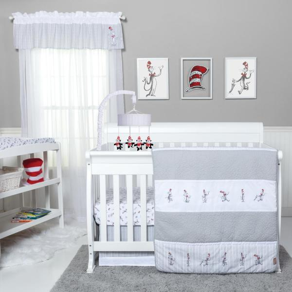 Dr. Seuss The Cat in The Hat Comes Back 4-Piece Multicolored Geometric Polyester Crib Bedding Set