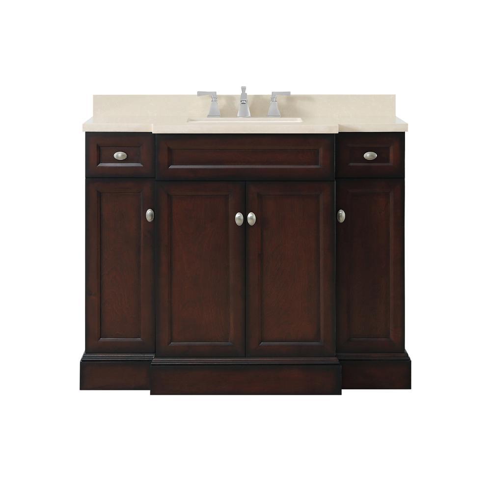 Home Decorators Collection Teagen 42 in. W Bath Vanity in Dark Espresso with Cultured Stone Vanity Top in Beige with White Basin