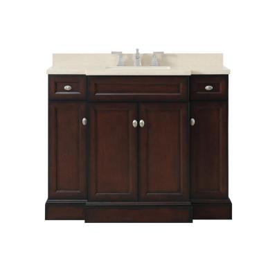 Teagen 42 in. W Bath Vanity in Dark Espresso with Cultured Stone Vanity Top in Beige with White Basin