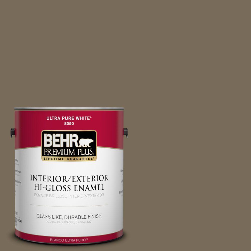 BEHR Premium Plus 1-gal. #730D-6 Coconut Husk Hi-Gloss Enamel Interior/Exterior Paint